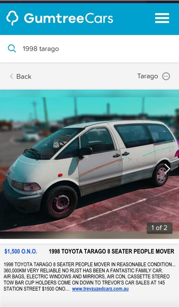 Used Tarago Ad